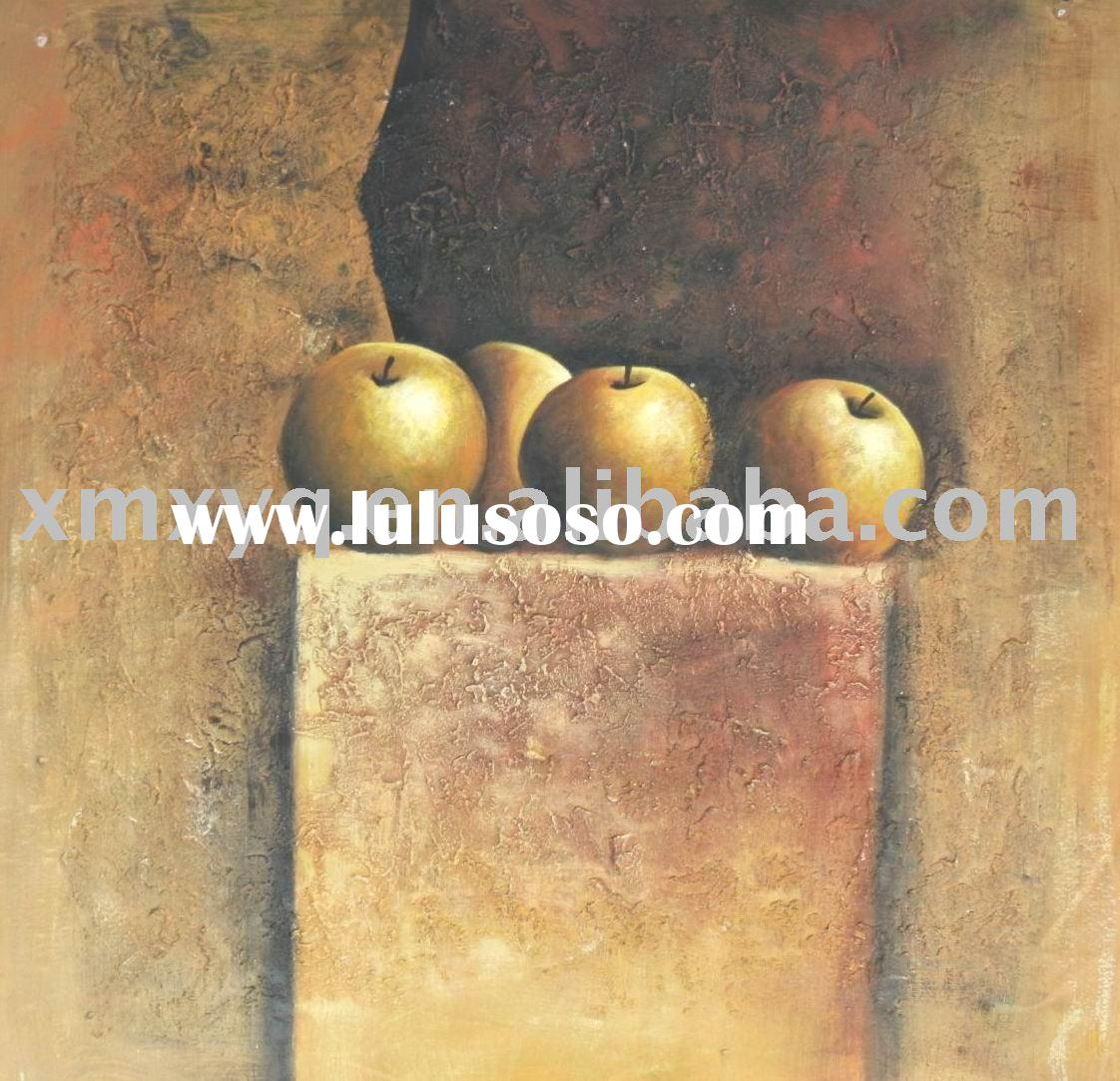 Modern Abstract Metallic Texture Art Oil Painting on Canvas Fruits