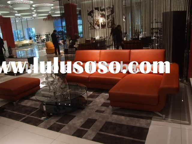Modern leather sofa, round glass table, home furniture