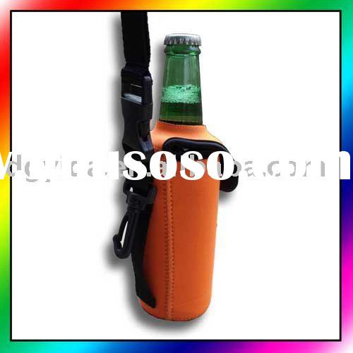 Neoprene cooler with strap/belt loop/clip, Stubby holder, Beer koozie, Can cooler with handle