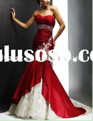 Noble red strapless bodice fashion mermaid applique lace beading floor-length satin weddind dress fo