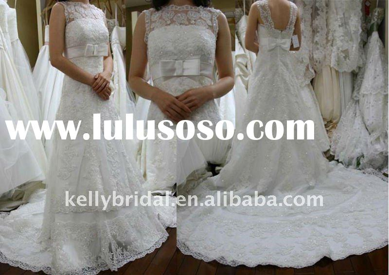 Overlay lace wedding dresses with cathedral train islamic wedding dress