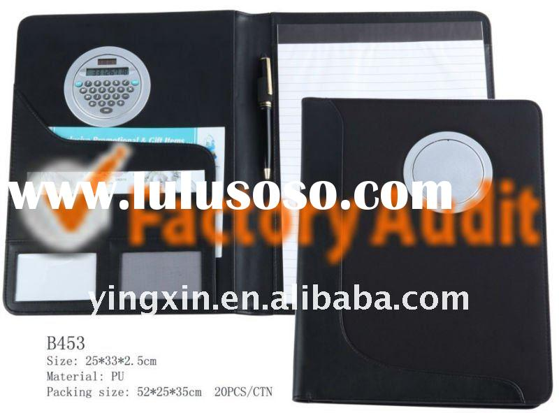PU leather folder(portfolio) with calculator