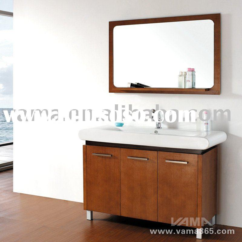 Practical mirror sink vanity furniture/modern bathroom cabinetry/solid wood door panels cabinet unit