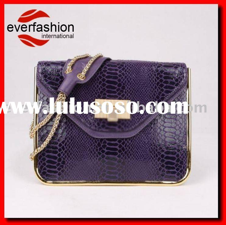 Purple snake skin print on calfskin leather handbag, faux snake skin leather bag