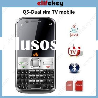 Q5 TV Dual sim cards Quad Band Qwerty Cell is full QWERTY Keyboard mobile phones external speakers