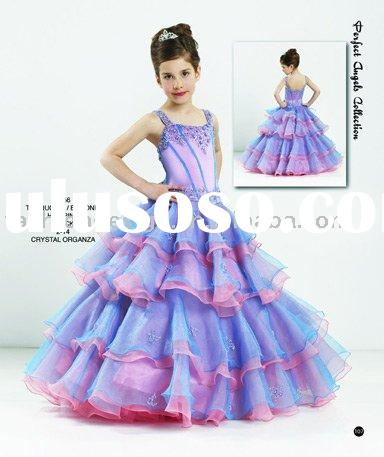 RG006 Pageant turquoise crystals organza little queen children dress Flower girl dresses