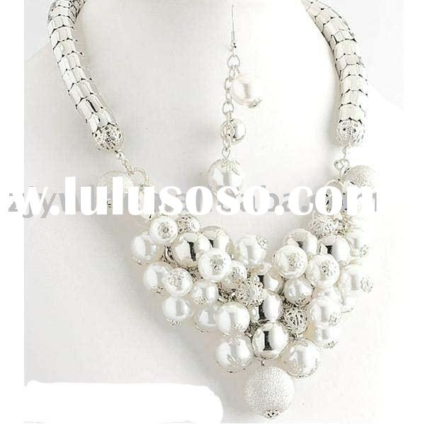 RHODIUM CHAIN &PEARL NECKLACE SET COSTUME JEWELRY