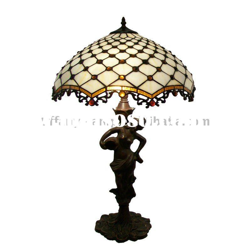 Raindrop Glass Tiffany table Lamp With Lady Figurine Base