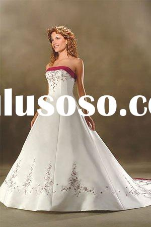 Red Trim Ivory Embroidery WD100 Modest Wedding Dress