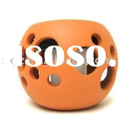 Round Orange Ceramic Solar Lights Pot with Bubble,new solar garden light, ceramic solar light, cheap