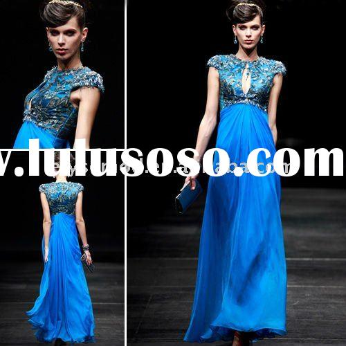 Royal Blue Beaded Tencel Cap-Sleeve Evening Dress