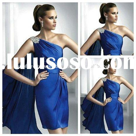 Royal Blue Chiffon Satin One Shoulder Short Evening Dresses