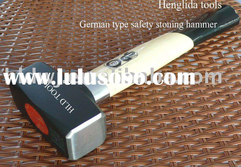 Safety stoning hammer with wooden handle