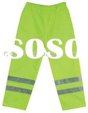 Saturn yellow high visibility trousers with retro-reflective ankle bands,elasticated waistbands,side