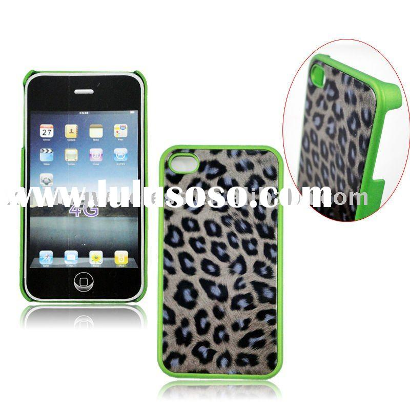 Skin-Guard leopard Leather case for Apple iphone 4 4G(rubberized feel)