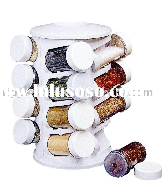 Spinning Spice Rack plastic kitchenware pp kitchen spice container bottle with rack
