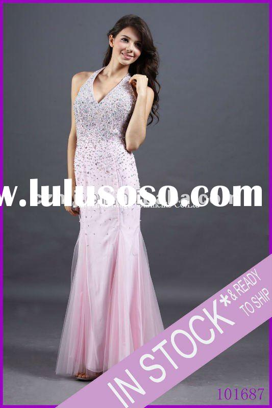 Spring 2012 new arrival beaded halter long night dress for women