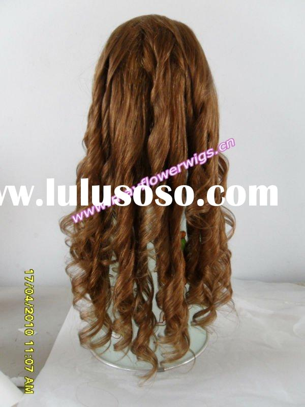 Spring large curl real human hair lace wigs silk top wig wholesaler price