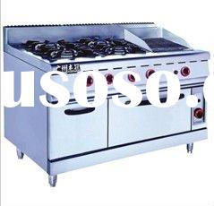 Stainless Steel Gas Range with 4-burner and Oven& Grill