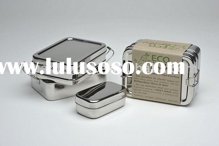 Stainless steel lunch box - 2 Pack (1 x Large & 1 x Small)