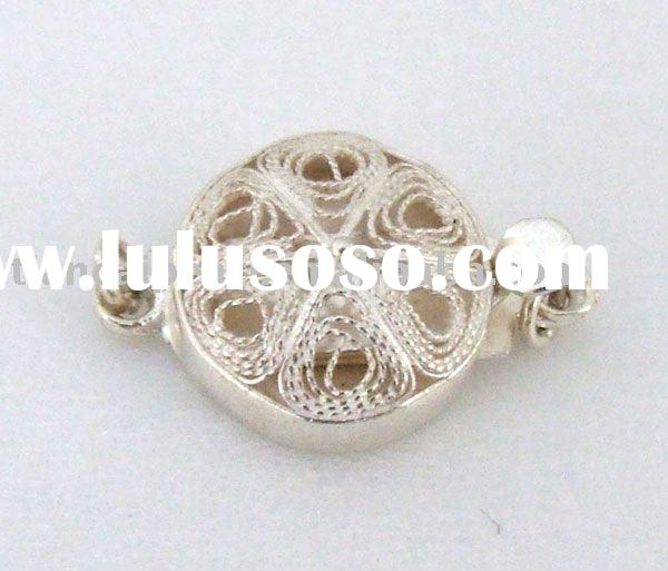 Sterling Silver Jewelry Accessories Findings Fittings-Filigree Celature S925 Silver Clasp 10mm