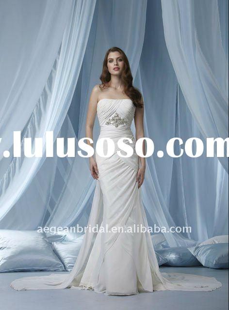 Style RZ-wd1110 strapless beaded chiffon mermaid bridal wedding dresses with detachable train