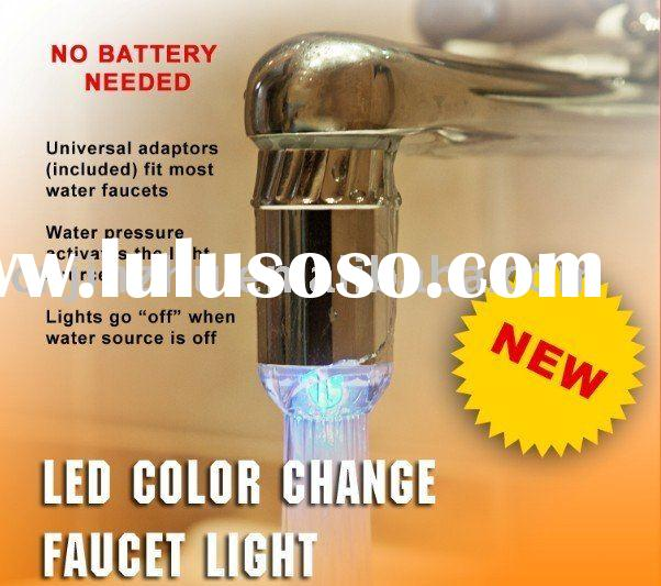 Temperature controlled led faucet light no battery