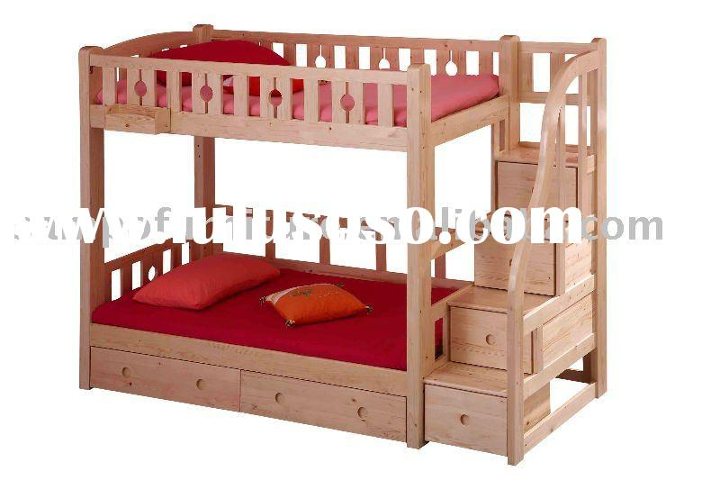 Twin over twin wood bunk bed with storage stairs