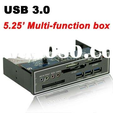 USB 3.0 5.25 inch Multi-function Box Front PC Panel 3 Port USB 3.0 Hub + SATA + All in One Card Read