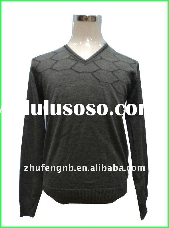 V neck men's jacquard sweater long sleeve pullover