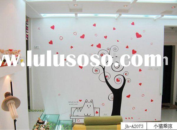 Wall Decal Sticker ( design: cat enjoying the coll under tree)