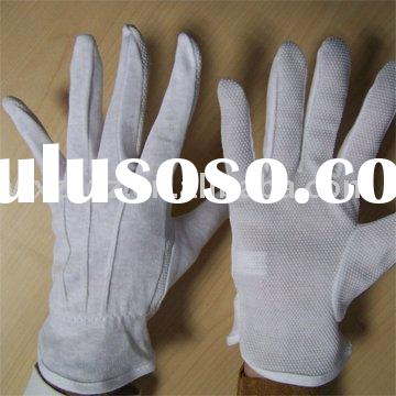 White Cotton glove with pvc dots on palm/PVC dots cotton glove/100% cotton pvc dots glove