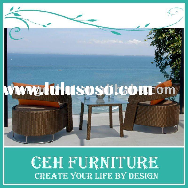Wicker garden furniture rattan cafe chair and table