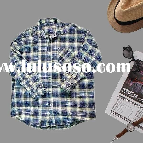 Yarn Dyed Heavy Weight Brushed 100% Cotton Plaid Flannel Shrit