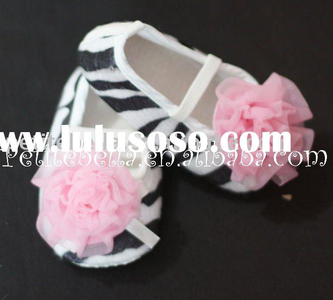 Zebra Print Shoes with Light Pink Rosettes Pettishoes Crib Shoes MAS01