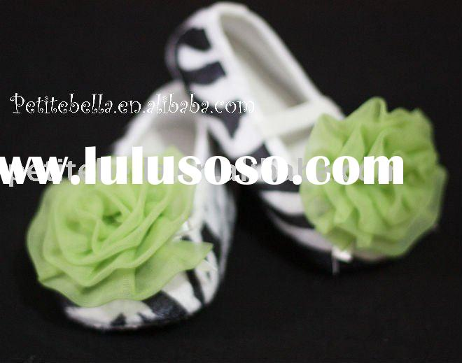 Zebra Print Shoes with Lime Green Rosettes Pettishoes Crib Shoes MAS10
