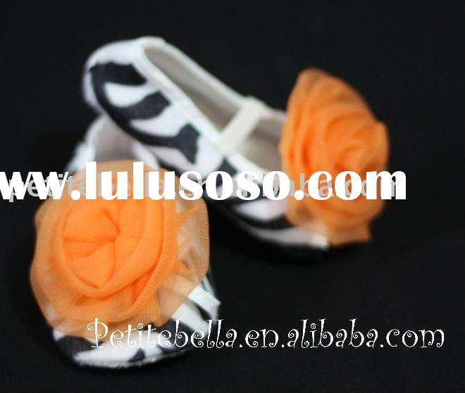 Zebra Print Shoes with Orange Rosettes Pettishoes Crib Shoes MAS03
