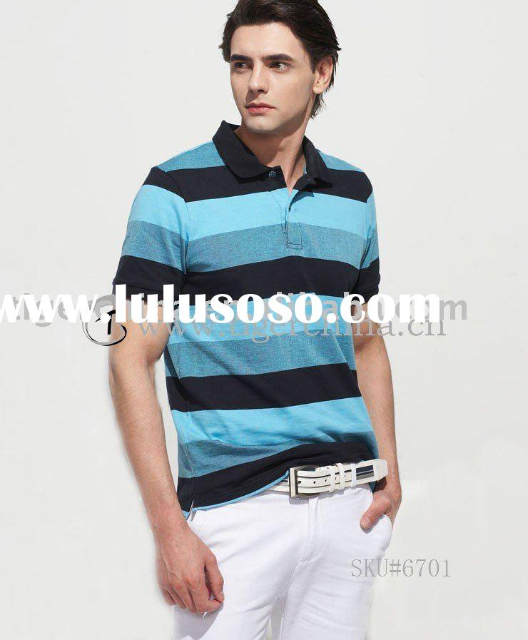 #6701-B Hot Fashion 100% Cotton Men's Polo Shirt - 2011 Summer Latest Design