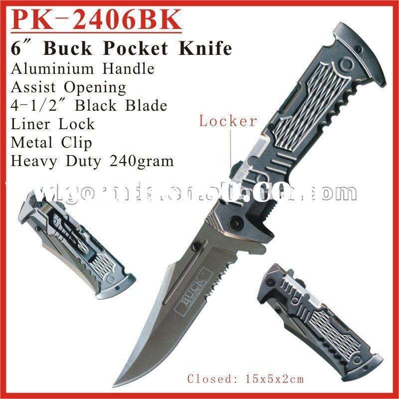 (PK-2406BK) 6 inch Semi-automatic Assist Open Buck Pocket Knife