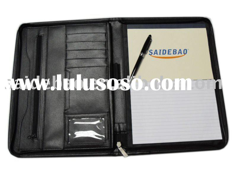 a4 leather portfolio with notepad and zipper closure