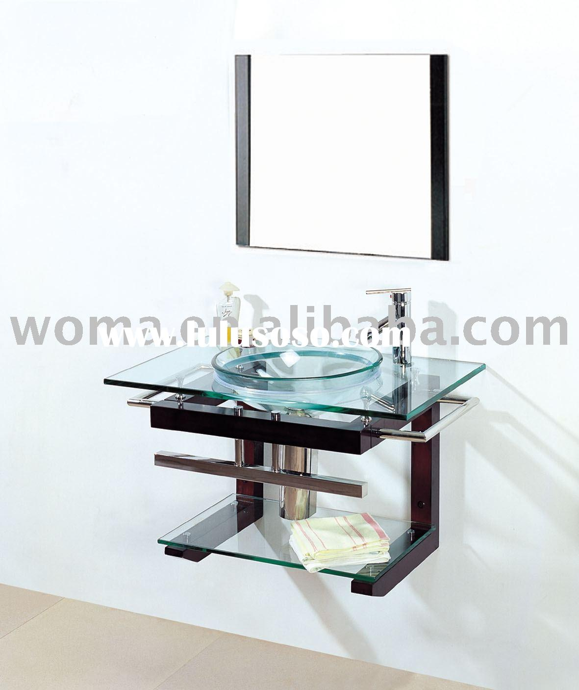 Bathroom Sinks Glass a modern sheer glass geometric sink with black framing on a marble
