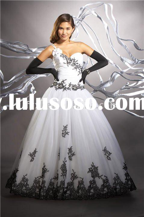 black ans white one shoulder wedding dress LW0117