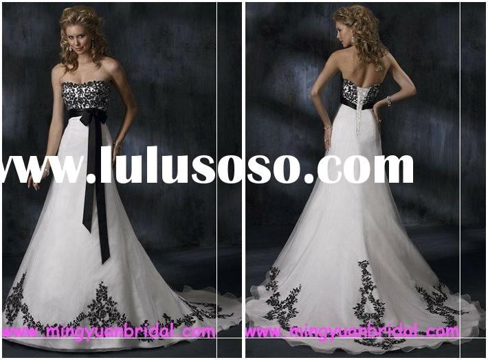 black embroider on white organza with ribbon wedding dress w3108