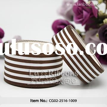 brown and white striped grosgrain ribbon belt