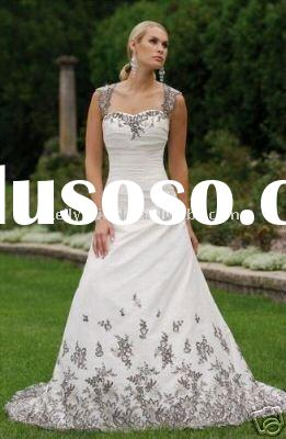 cap sleeve white and black lace wedding dress 2011