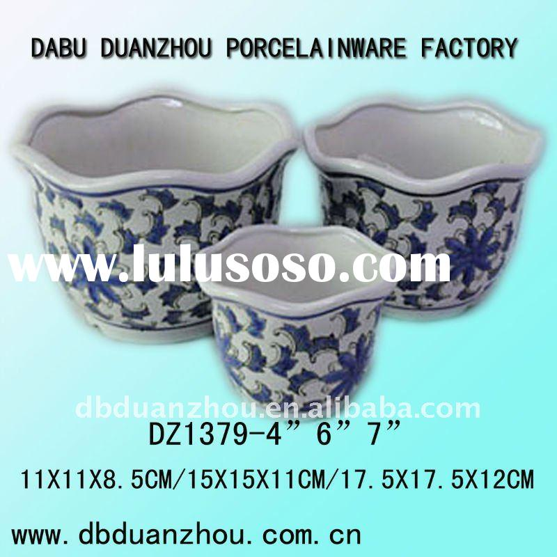 ceramic blue and white flower pot