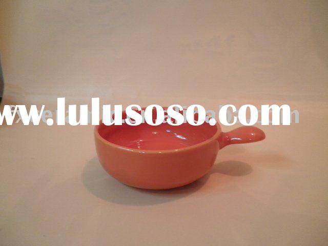 ceramic salad bowl/fruit bowl with handle (ceramic cereal bowl, snack bowl, fruit bowl, soup bowl, o