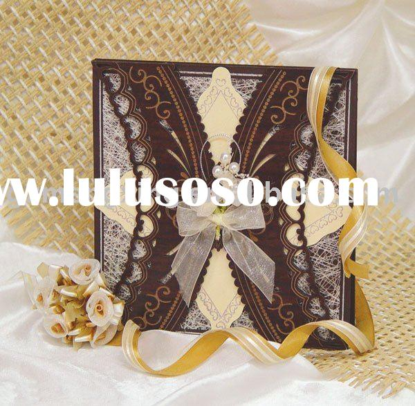 chic wedding Invitation Card with ribbon bow and pearls decorationWN027