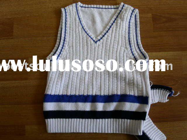 child clothing cotton knitted v neck stripe boy's sweater vest pullover with cable stitch BS