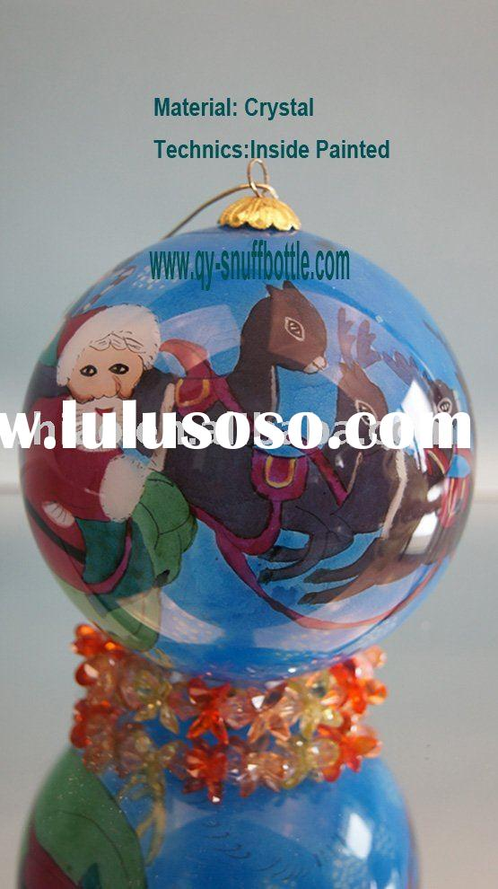 christmas items 2010 for 9cm glass ball inside painted santa pic as outdoor christmas decoration on
